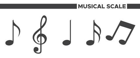 conjunto de ícones de escala musical vetor