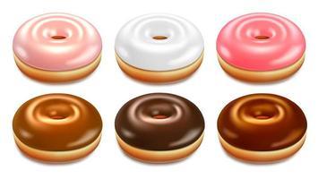 conjunto de rosquinhas rosa, brancos e marrons vetor