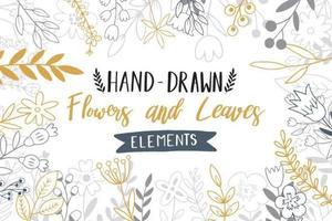 doodle de flores desenhadas mão vetor