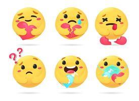 ícones de rostos amarelos vetor