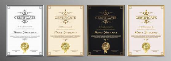 conjunto de diploma de modelo de certificado