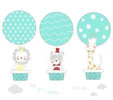 animais em balões de ar quente