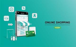 página de destino ou banner de compras on-line verde vetor