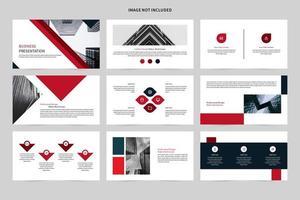 conjunto de apresentação de negócios de vermelho, branco e preto