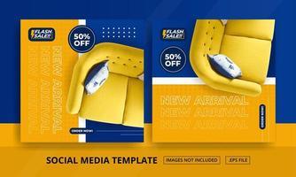 modelos de mídia social laranja e azul com temas de móveis vetor