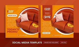 conjunto de postagens de mídia social temática de móveis laranja vetor