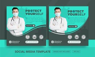 postagens de mídia social verde e cinza de proteção à saúde