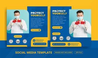 conjunto de mídias sociais de proteção de saúde azul e amarelo vetor