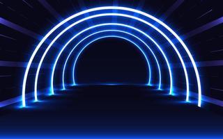 túnel brilhante de néon azul vetor