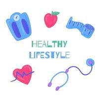estilo de vida saudável mão desenhados elementos vetor