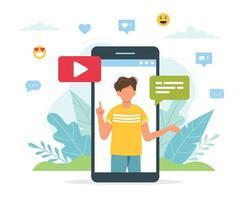 blogger de vídeo masculino na tela do smartphone vetor