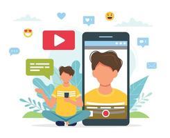 blogueiro de vídeo gravando vídeo com smartphone vetor