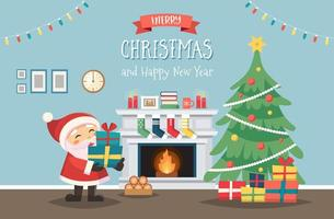 Papai Noel com árvore de Natal e presentes