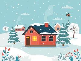 casa de inverno na paisagem de neve vetor
