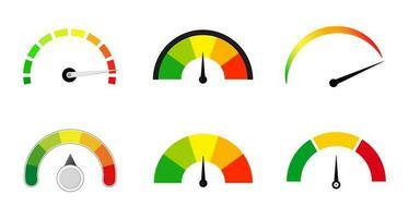 conjunto de escala de medidores de satisfação vetor