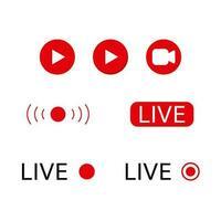 conjunto de ícones de reprodução de transmissão ao vivo vetor