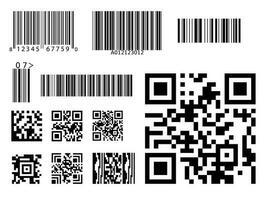 código de barras código QR conjunto de símbolos vetor