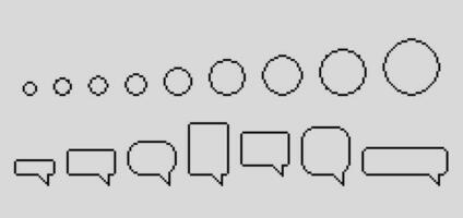conjunto de bolhas do discurso de pixel vetor
