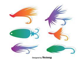 Conjunto colorido do vetor da pesca com mosca