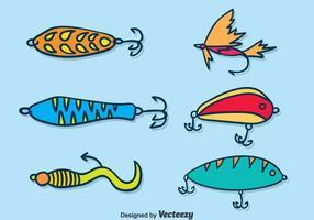 Conjunto de vetores de iscas de pesca desenhadas à mão