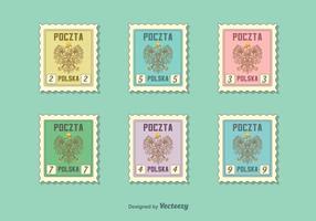 Selos postais do vetor da águia polaca