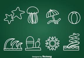 Vetor de ícones de elementos recreativos da água