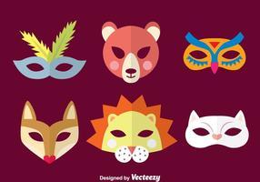 Coleção de máscara animal purim vetor