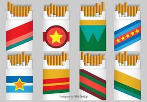 Ícones de vetor de pacote de cigarro