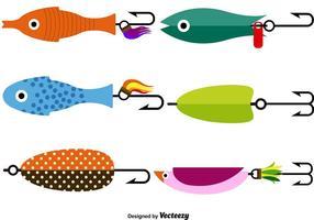 Conjunto de ícones de lata de pesca com vetor