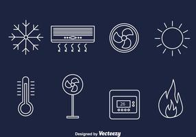 Hvac line icons vector