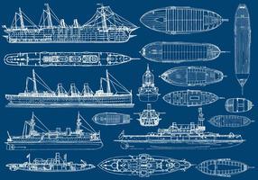 Aviões de barco e navio vetor