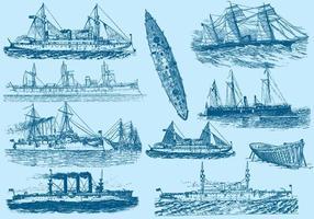 Barcos e navios vintage vetor