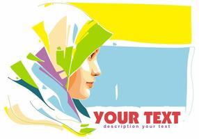 Hijab islamic woman popart portrait vetor