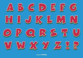 Alfabeto com desenhos animados divertidos vetor