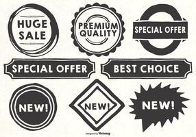 Etiquetas publicitárias de estilos desenhados à mão vetor