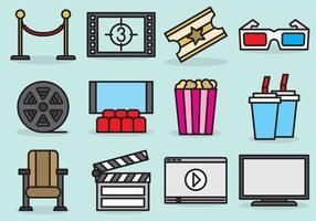 Cute Movie Theatre Icons vetor