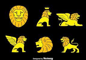 Coleção de símbolos do leão Vector