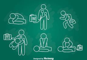 Desenho de mão de primeiros socorros de emergência vetor