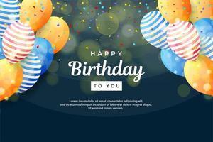 fundos de aniversário com confetes e balões coloridos vetor