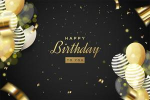 celebrações de aniversário de fundo com confetes e balões vetor