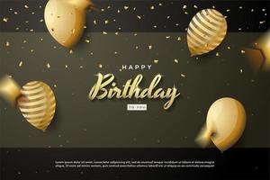 fundo de aniversário com escrita em forma de fita de ouro 3d vetor