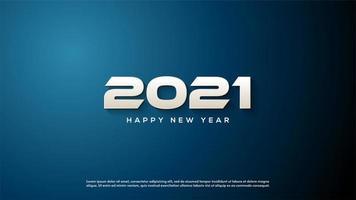 fundo 2021 com números 3d brancos vetor