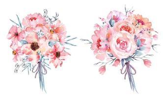 2 buquês de flores em aquarela rosa
