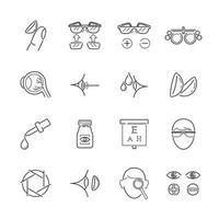 ícones de linha para óptica médica vetor