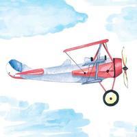 pintura de avião com aquarela vetor