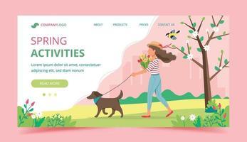 design de modelo de página de destino de atividades de primavera
