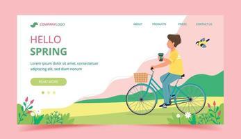 design de modelo de página inicial de primavera