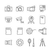 ícones para fotografia, atividades de gravação de vídeo vetor