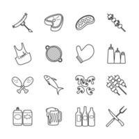 conjunto de ícones de linha de festa de churrasco vetor