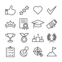 conjunto de ícones de linha expressão de conquista vetor